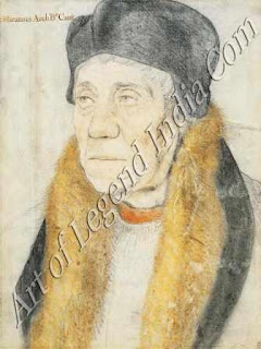 William Warham, Archbishop of Canterbury (1527), This drawing in coloured chalks dates from Holbein's first stay in England, and is one of his most penetrating character studies. Like all of his drawings, it was made for a practical purpose as a preparatory sketch for a portrait which the Archbishop sent to his friend, Erasmus. The freedom of the handling and the delicate use of soft crumbling chalk on white paper, are typical of Holbein's early style.