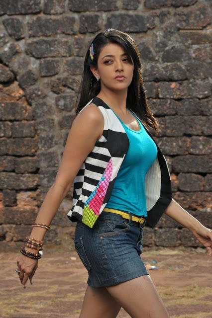 Kajal Agarwal Latest Still Pictures in Blue T shirt and Denim Jeans Short Skirt