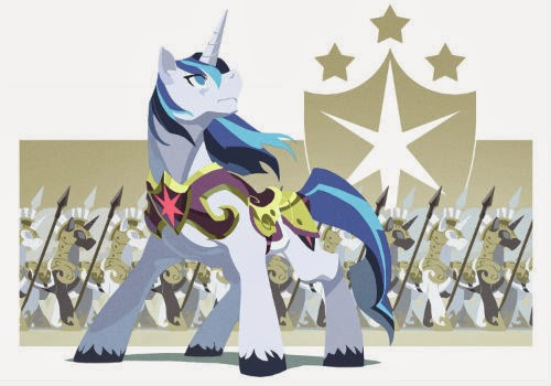 Shining Armor is a unicorn pony and older brother of Twilight Sparkle