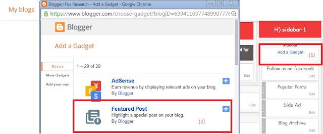 Add Featured Post Gadget / Widget in Blogger