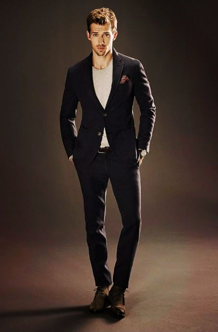 black on black suit with grey t shirt casual combination ...