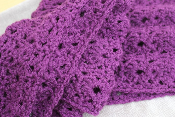 A close up of the finished scarf