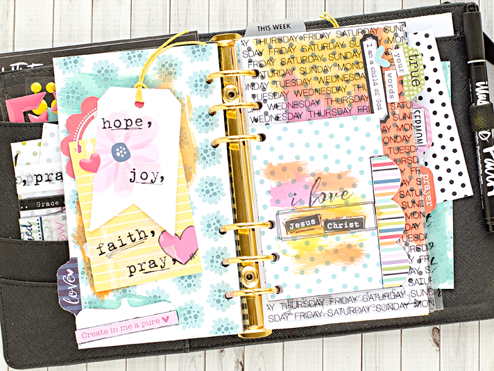 A Walk-Through of a Faith Planner - mixed media art worship in a kikki.K medium sized planner using printables from HeatherGreenwoodShop on Etsy and product by Illustrated Faith and Bella Blvd