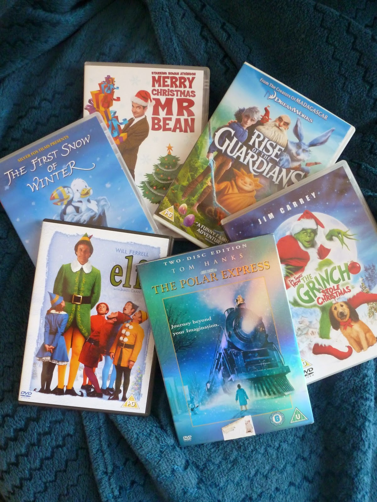 Christmas films. Merry christmas mr bean. Rise of the guardians. The grinch. The polar express. Elf. The first snow of winter