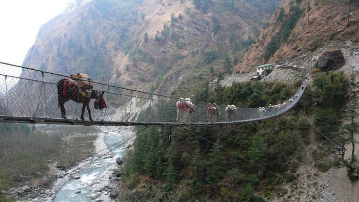 Ghasa Bridge is a suspension bridge on the south side of the Annapurna circuit. It was created out of necessity and in hopes of eliminating the congestion in Ghasa town due to herds of animals constantly being walked up and down the narrow roads.