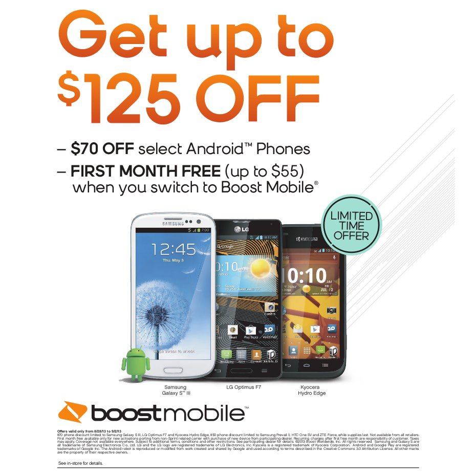 boost mobile in store only promotion up to 125 off. Black Bedroom Furniture Sets. Home Design Ideas