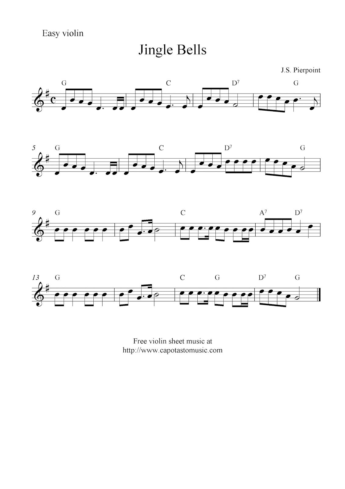 Jingle Bells, free Christmas violin sheet music
