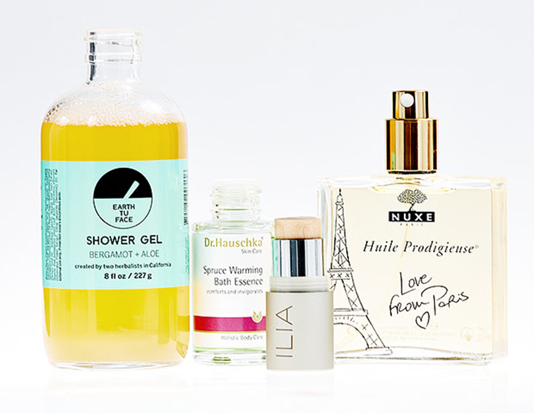 Beauty products, Earth Tu Face shower gel bergamot + aloe, Dr. HAuschka Skin Care Spruce Warming Bath Essence, Ilia concealer, Nuxe Huile Prodigieuse love from Paris