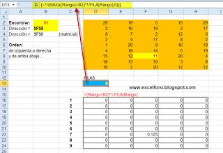 Busqueda matricial por triangulación sobre un rango en Excel.