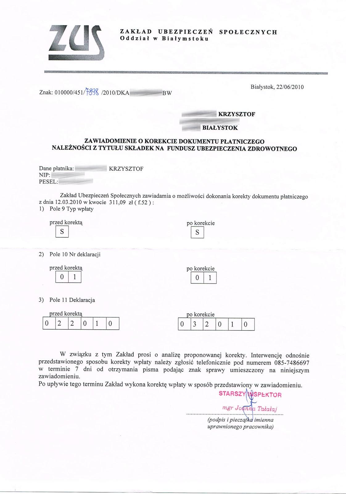 korekta dokumentu płatniczego nfz