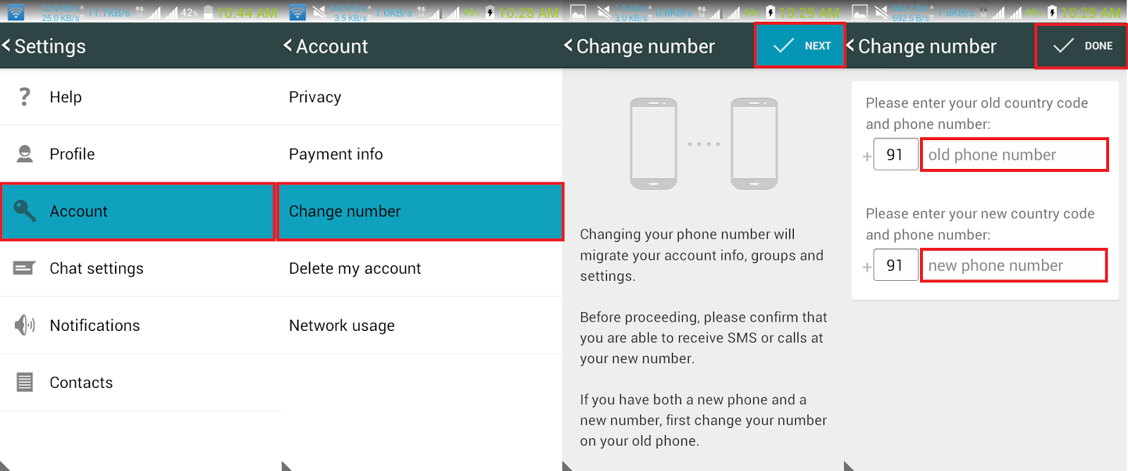 Whatsapp Change number
