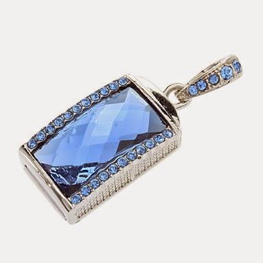 Colgante USB 16 GB azul con cristales