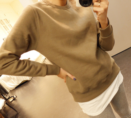 Solid Color Crew Neck Sweater