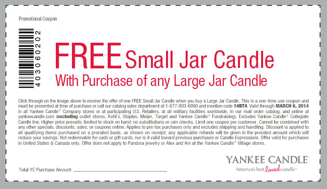 Yankee candle printable coupon march 2018