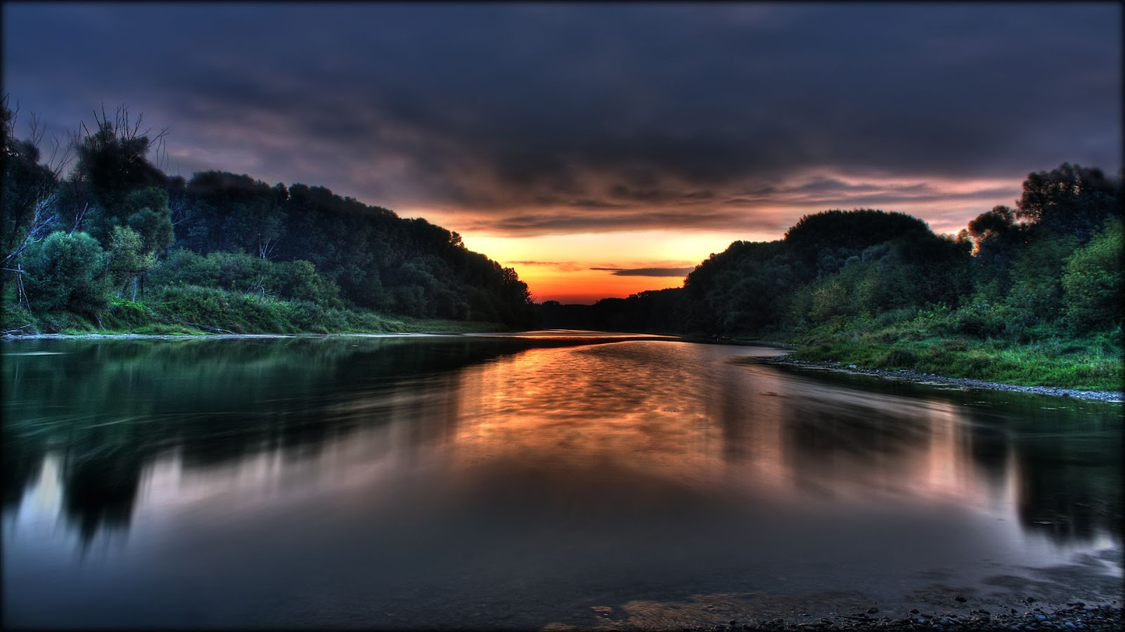 Widescreen Full HD Size Nature Lake Water Mountains Donau Sunrise Wallpaper Pictures