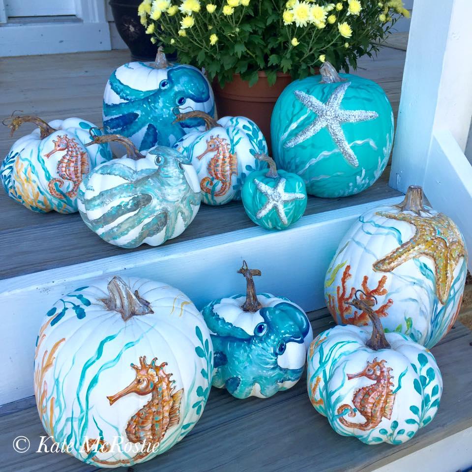 Everything coastal 7 painted pumpkin ideas for the coast for Coastal themed decor