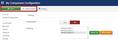 Joomla component options