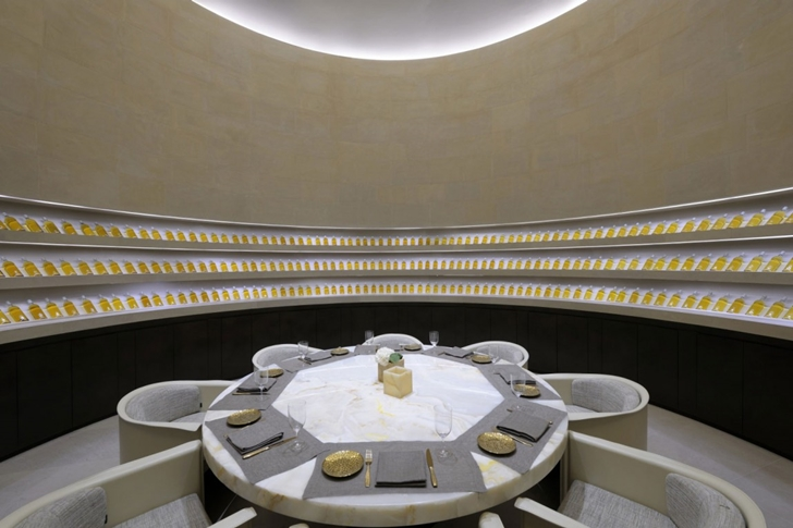 Round dining table in Armani Burj Khalifa Hotel Dubai