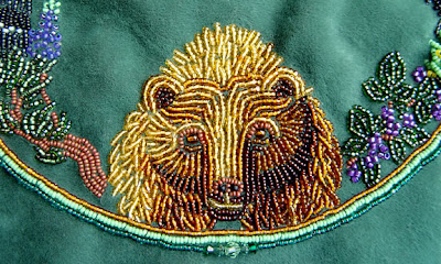 Janet Dann, bead embroidery, bear, detail