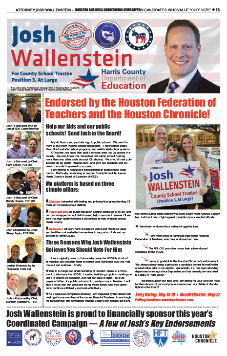 PAGE 23 - HOUSTON BUSINESS CONNECTIONS NEWSPAPER© RUNOFF ELECTION - PART 1 of 3