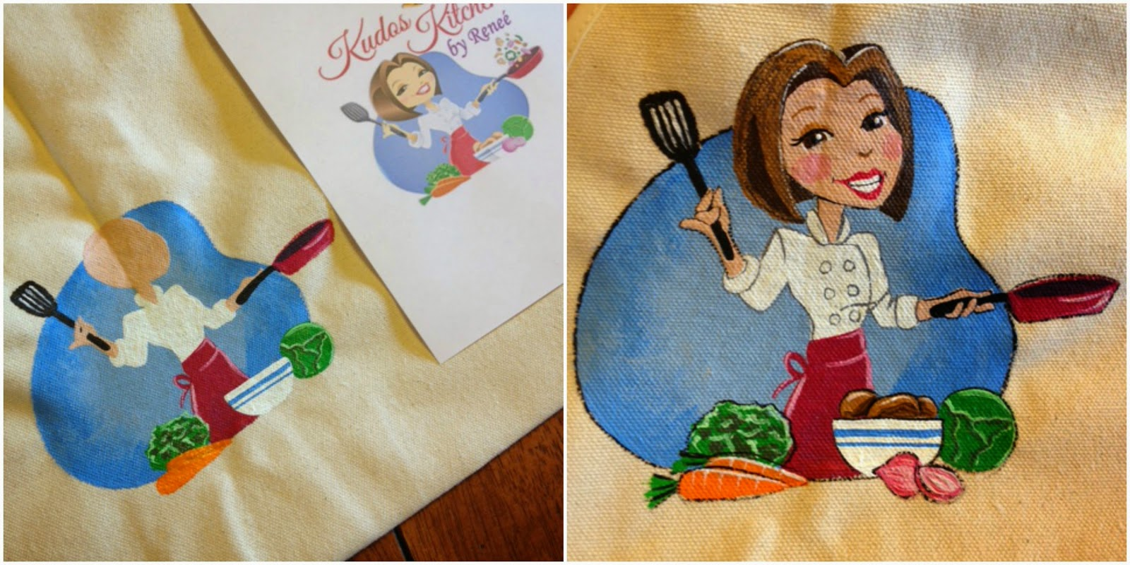 Custom Hand Painted Food Blogger Apron - Kudos Kitchen by Renee