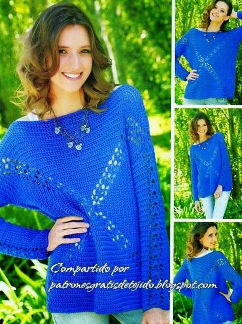 Sueter crochet diseño geométrico