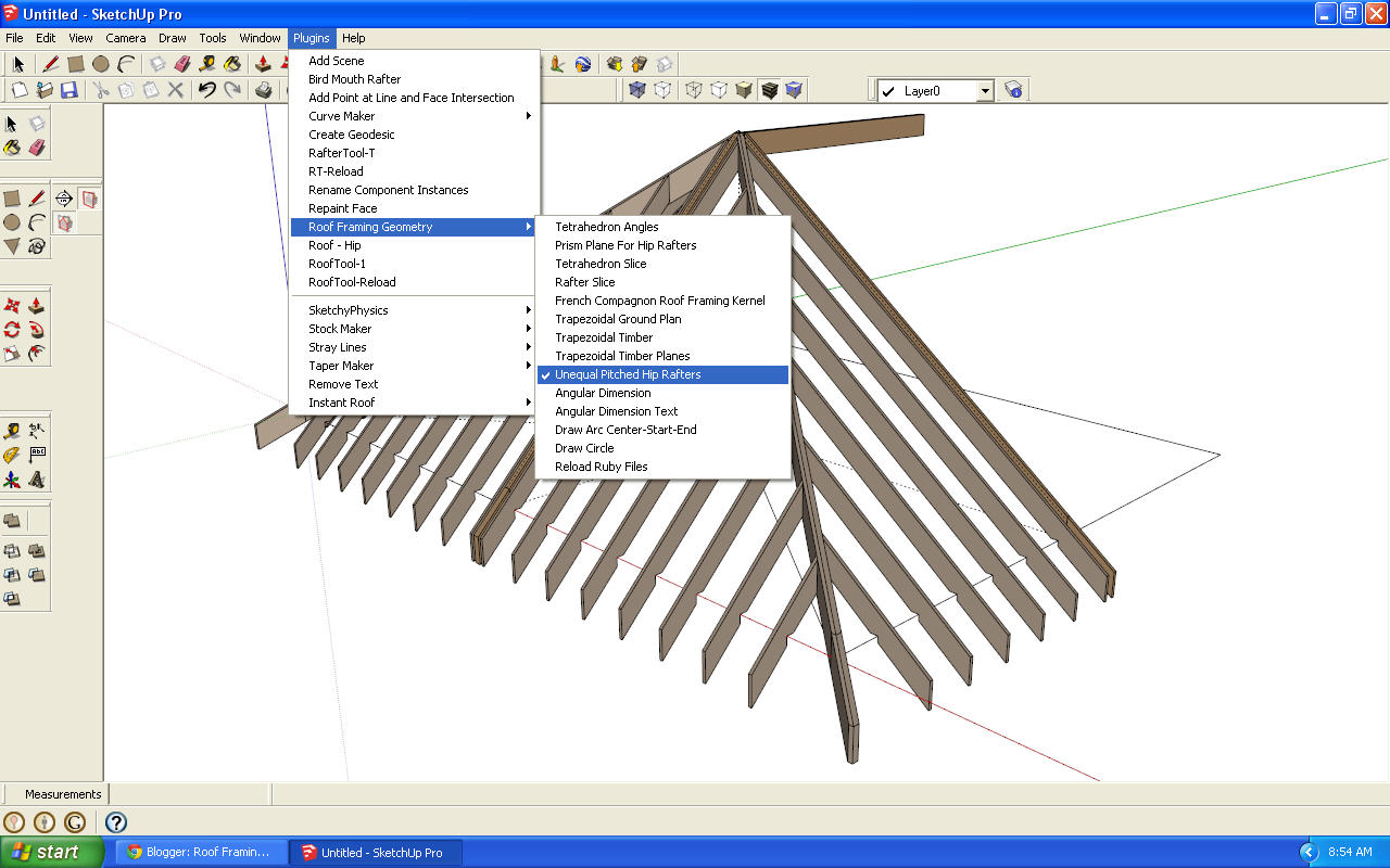 Roof framing geometry google sketchup ruby plugin for Sketchup 2013