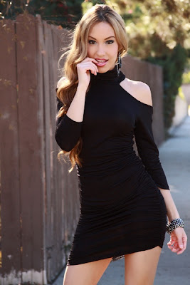 BLACK MOCK NECK CUT OUT QUARTER SLEEVE RUCHED SIDE FITTED DRESS