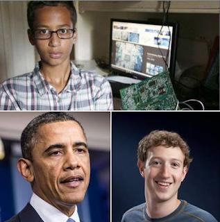 بعد أن اخترع الطفل أحمد ساعة شبيهة للقنبلة ... أوباما يدعوه لزيارة البيت الأبيض و مارك يقدم له وظيفة في فيس بوك