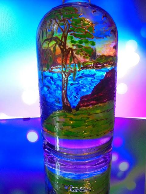 роспись бутылки витражными красками