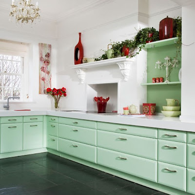 mint and red kitchen