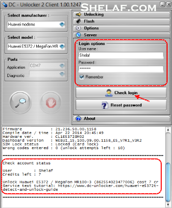 Логин и пароль для DC-Unlocker client
