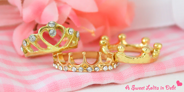 Gold RIngs, Crown Ring, Tiara Ring, Cute Rings, Royal Rings, Gold and Crystal Crown RIng