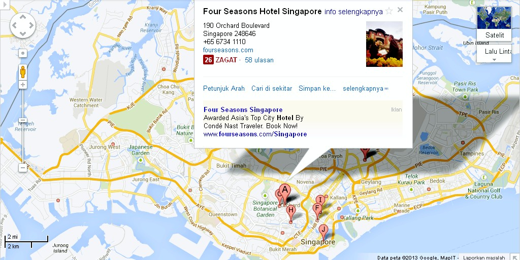 Location Map of Four Seasons Hotel Singapore Alexandra Meier