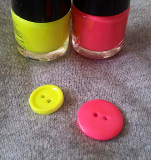 button makeover trick, colour your buttons, neon buttons, hot pink button, acid yellow button