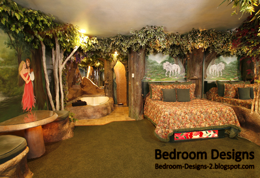 Modern bedroom design takes the forest style for Forest themed bedroom ideas