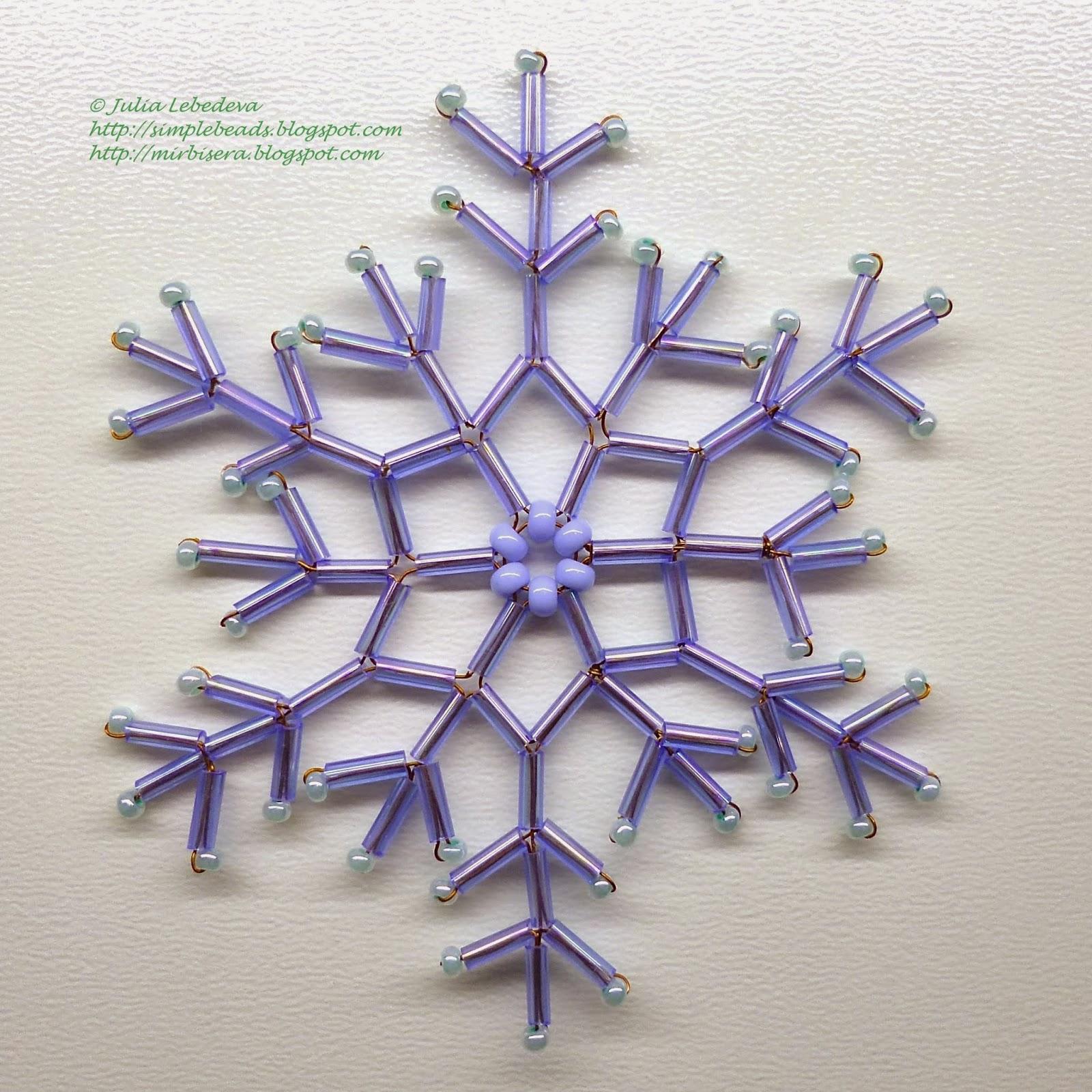 Снежинка из стекляруса