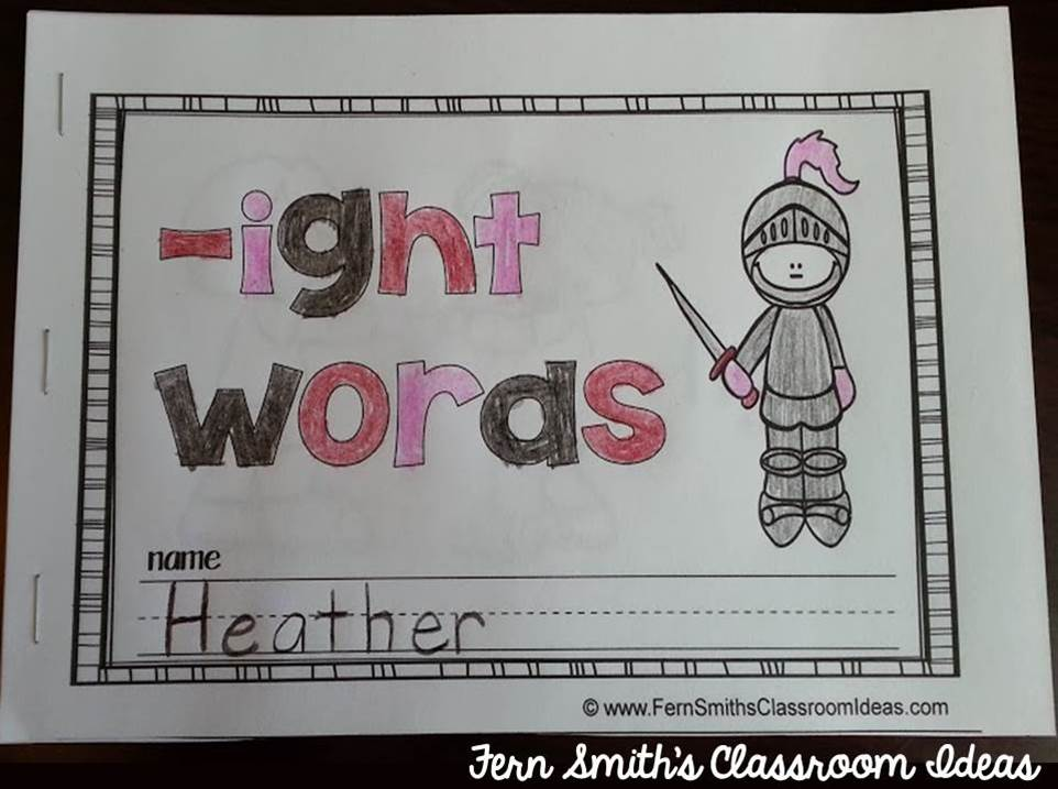 Printable Phonics Mini-Books for the -ight Family
