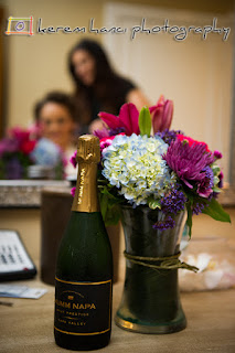 Champagne was handy while the bride and her bridemaids were getting ready for her big day.