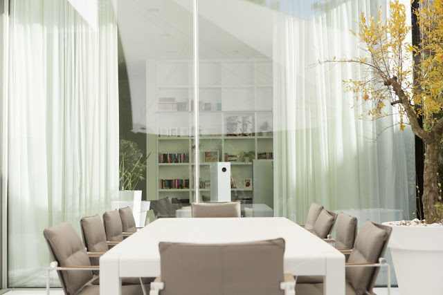 White dining table in dining room