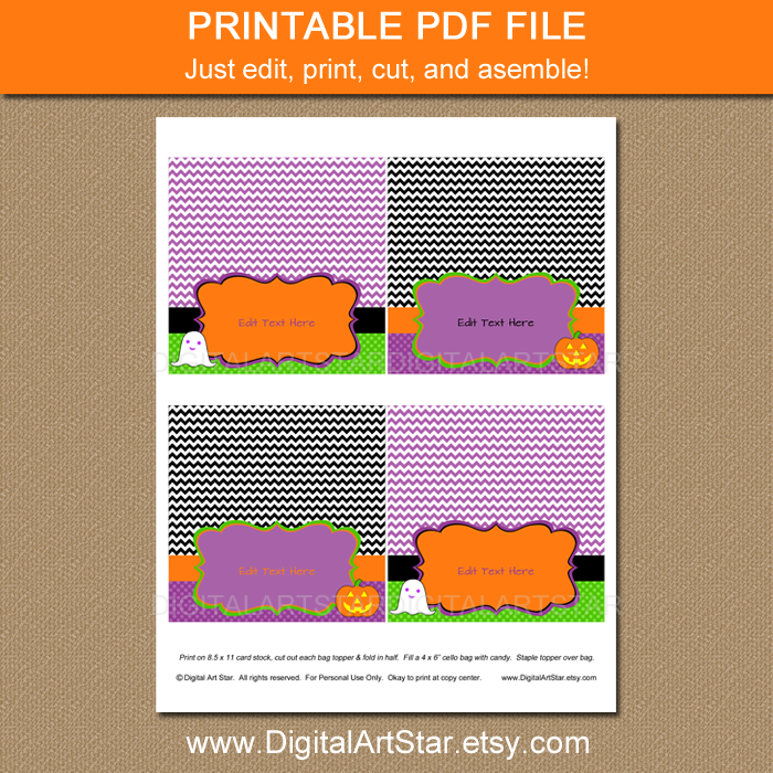 chevron halloween printable editable bag labels