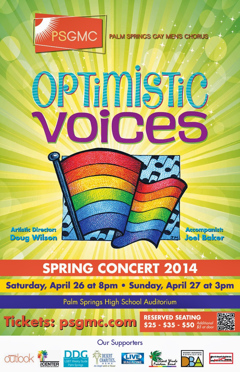 poste r- Palm Sproings Gay Mens Chorus - OPTIMISTIC VOICES  April 26/8pm April27/3pm