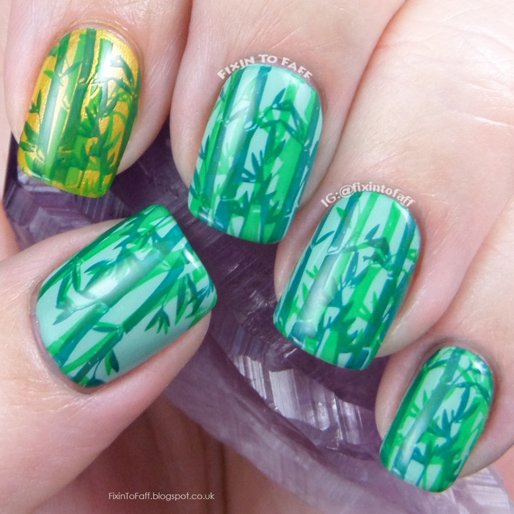 Fixin to faff double stamped green bamboo forest nail art prinsesfo Gallery
