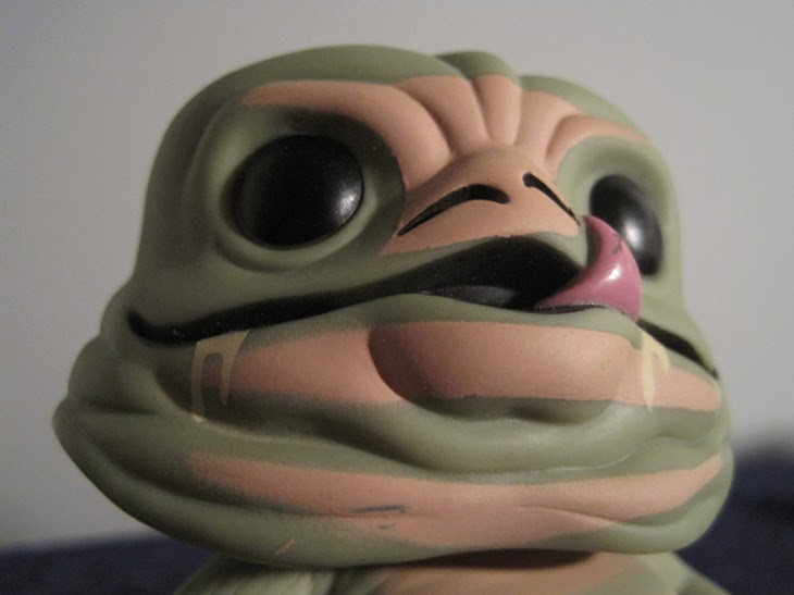 Close-up of Funko Pop! Jabba the Hutt vinyl bobblehead.