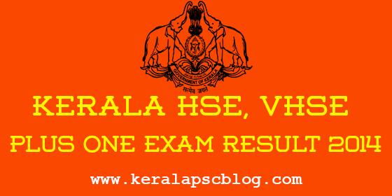 Kerala HSE Plus One Exam Result 2014