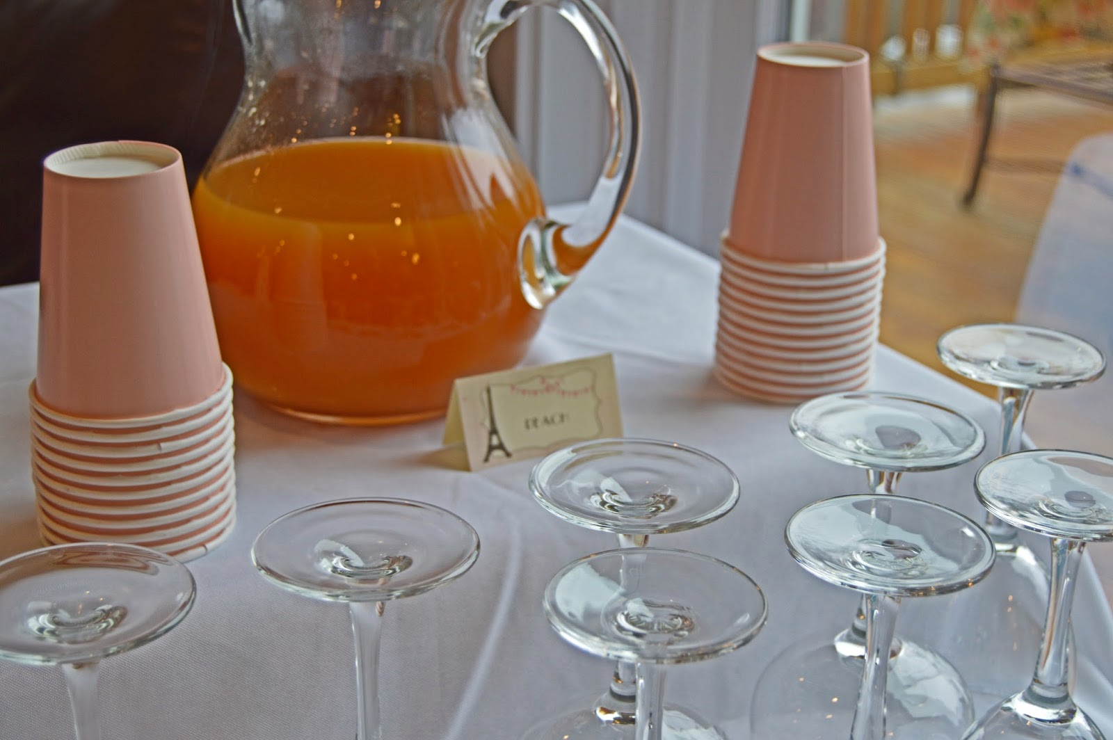Paris Themed Birthday Party: Bellini and Mimosa Bar