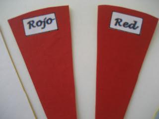 Cartas rojas para juego de memoria de colores