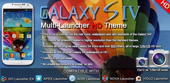 Galaxy S4 HD Multi Launcher Theme v2.3 [APK] [Android]