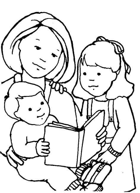COLOREA TUS DIBUJOS: Mamá leyéndoles cuento a sus hijos para colorear