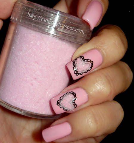 Кадифена пудра за нокти в бебешко розово